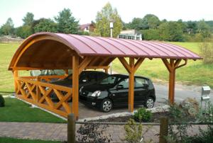 Bogendach Carport Holz